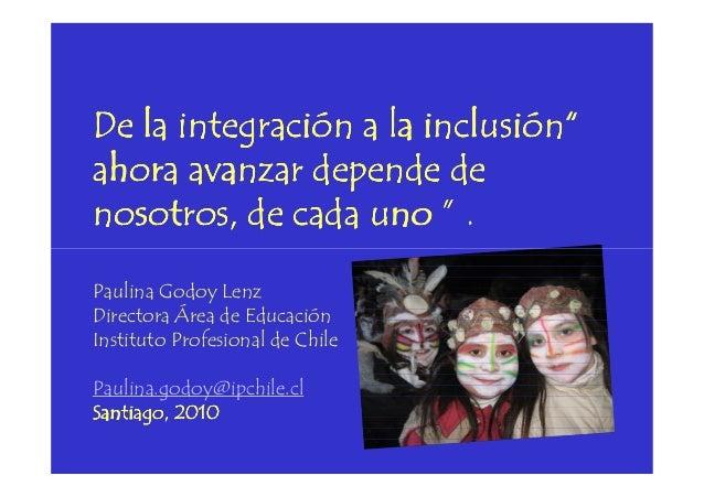 """De la integración a la inclusión""""De la integración a la inclusión""""De la integración a la inclusión""""De la integración a la ..."""