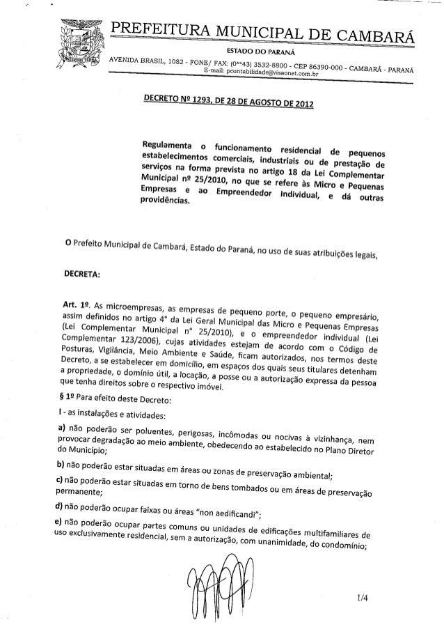 Decreto 1293 2012 - funcionamento residencial
