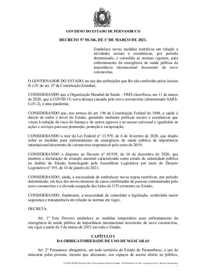 GOVERNO DO ESTADO DE PERNAMBUCO D:PGEAPOIODecretos2021Procuradoria Geral do Estado - PGEDecreto 50.346 - restrições noite ...