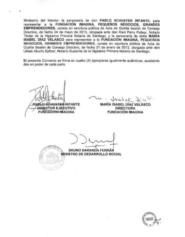 Convenio Ministerio Desarrollo Social - Decreto 261 Fundación Imagina