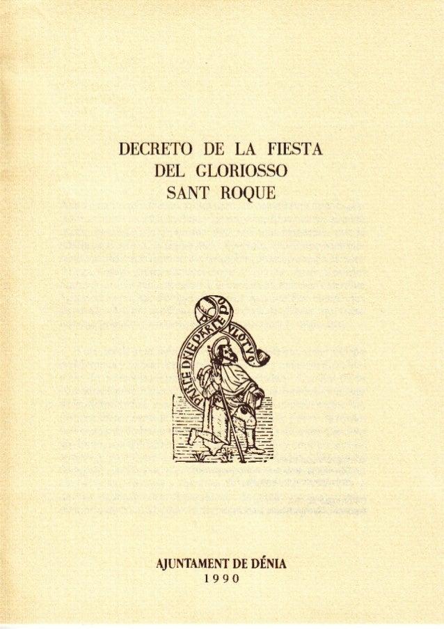 Decreto de la fiesta del glorioso Sant Roque Patrón de Denia