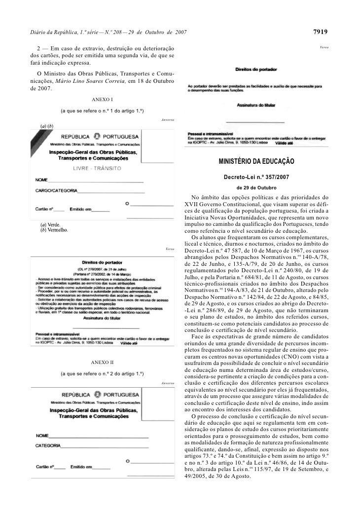 Diário da República, 1.ª série — N.º 208 — 29 de Outubro de 2007                                                      7919...