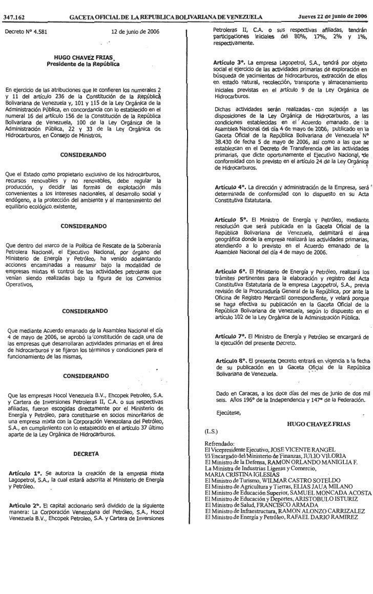 Decreto Nº 4.581, Mediante El Cual Se Autoriza La CreacióN De La Empresa Mixta Lagopetrol, S.A