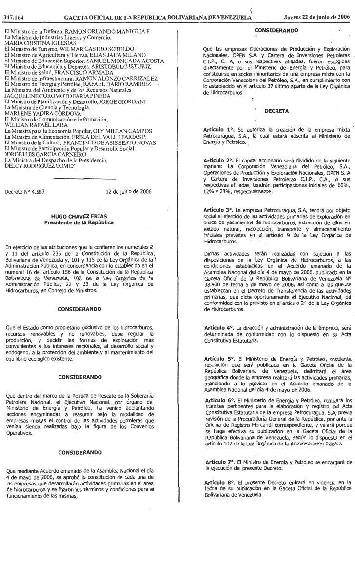 Decreto Nº 4.583, Mediante El Cual Se Autoriza La CreacióN De La Empresa Mixta Petrocuragua, S.A