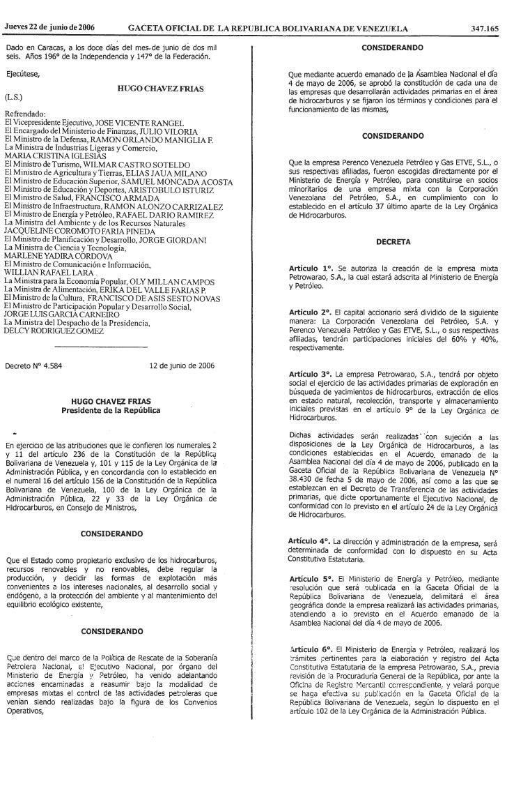 Decreto Nº 4.584, Mediante El Cual Se Autoriza La CreacióN De La Empresa Mixta Petrowarao, S.A
