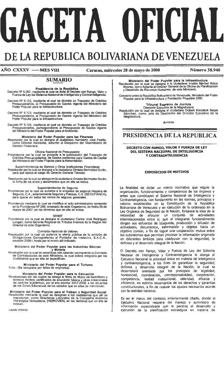 Decreto N° 6.067 Ley Del Sistema Nacional De Inteligencia Y Contrainteligencia