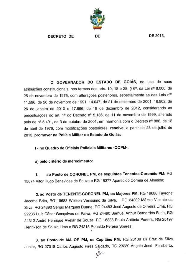 Decreto promoção de oficiais da pmgo julho 2013