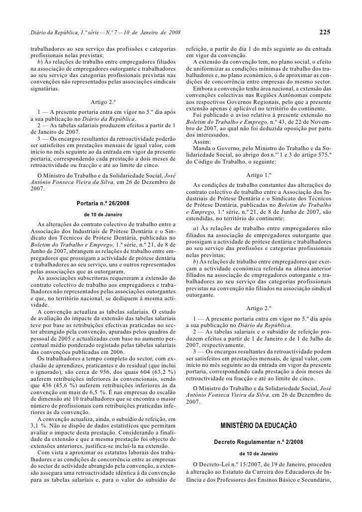 225 Diário da República, 1.ª série — N.º 7 — 10 de Janeiro de 2008  trabalhadores ao seu serviço das profissões e categori...