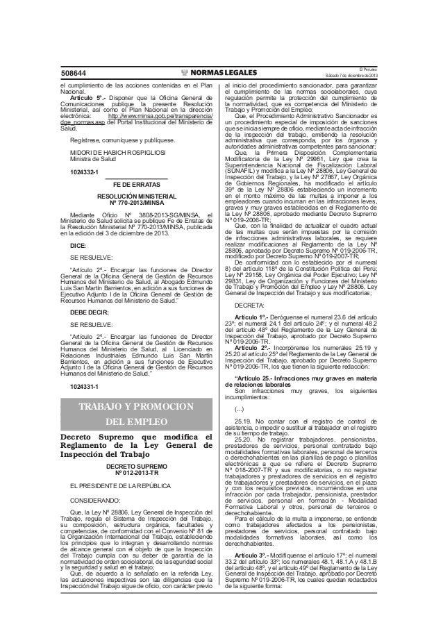 El Peruano Sábado 7 de diciembre de 2013  508644 el cumplimiento de las acciones contenidas en el Plan Nacional. Artículo ...