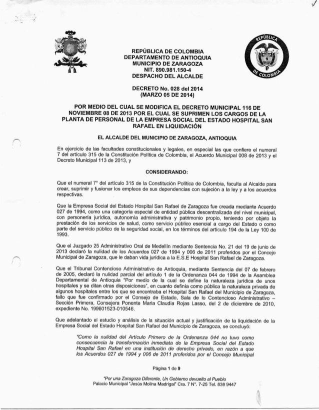 DECRETO 028 DEL 05 MARZO DE 2014