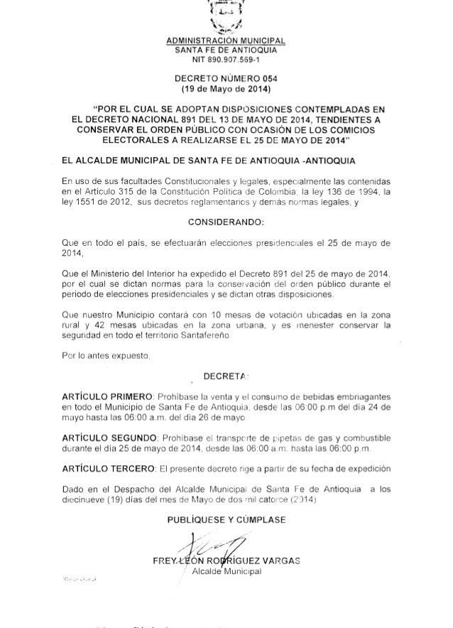 Decreto 054 Elecciones Presidenciales