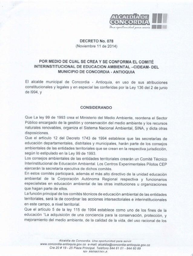 ALCALDIA DE  Ã, CORD! A  ana nroJuwxÂ/ :Íaalrata : town/ Ç  U ij'                DECRETO No.  078 (Noviembre 11 de 2014)  ...