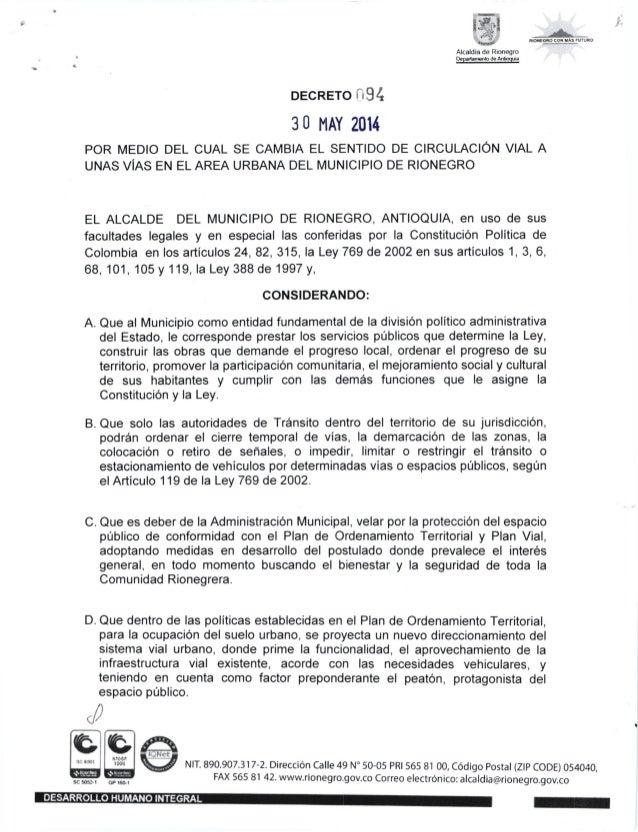 バ DECRETO i,94 30 MAY 2014 POR MED10 DEL CUAL SE CAMBIA EL SENTIDO DE CIRCULAC10N VIAL A UNAS ViAS EN EL AREA URBANA DEL M...