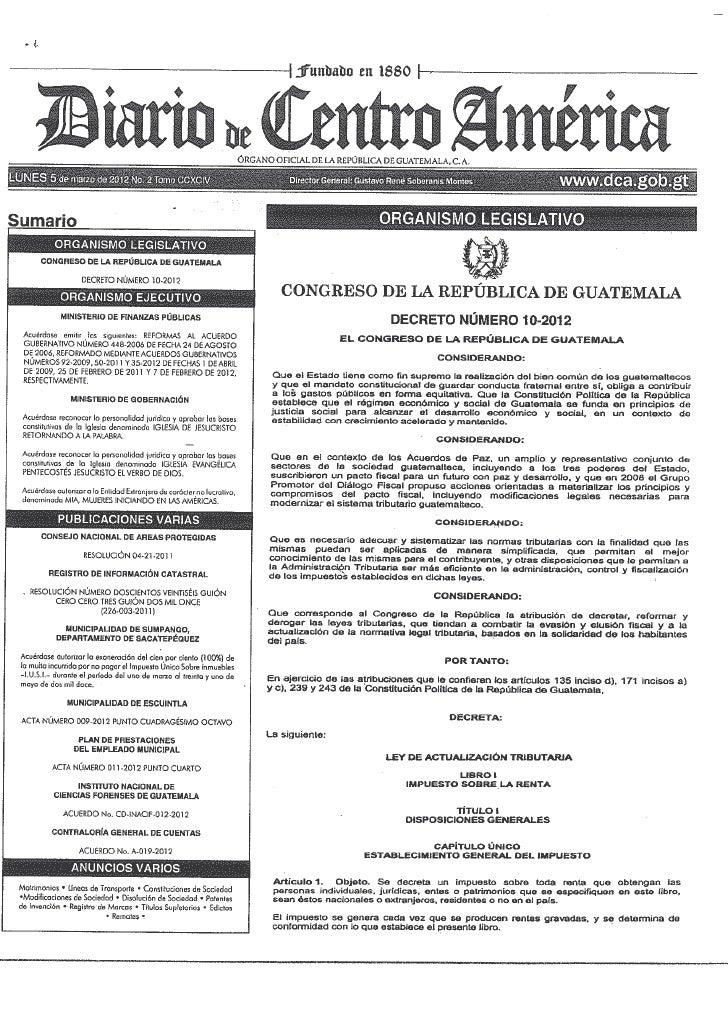 Decreto 10-2012, Ley de Actualización Tributaria