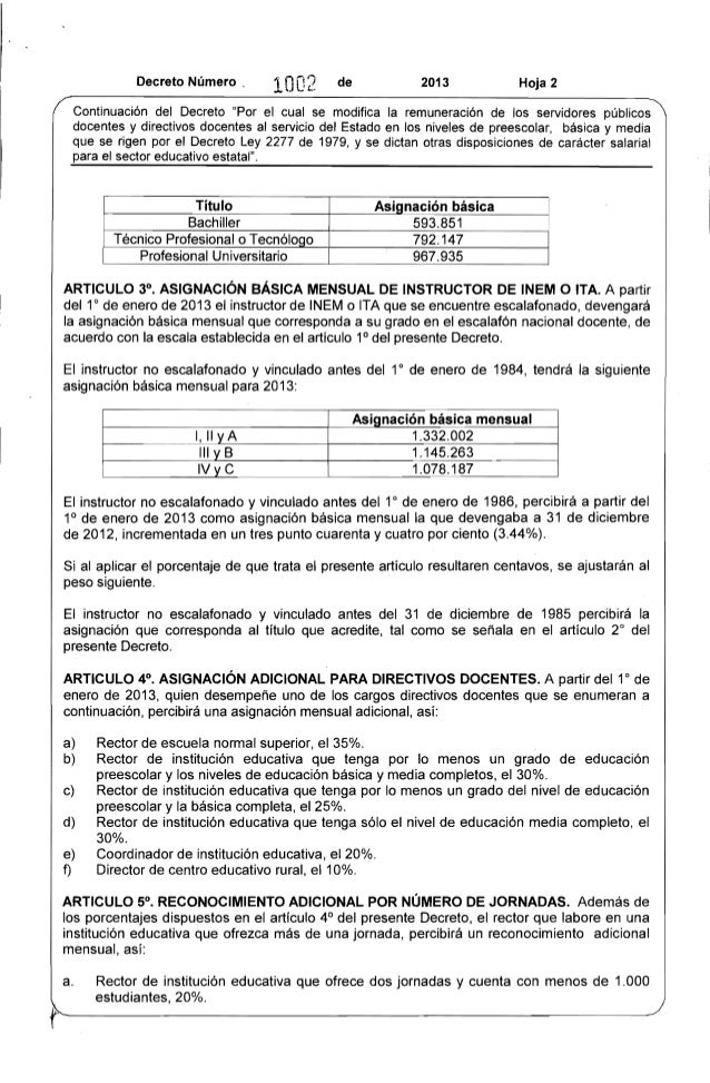 """Decreto Número, 1002 de 2013 Hoja 2  Continuación del Decreto """"Por el cual se modifica la remuneración de los servidores p..."""