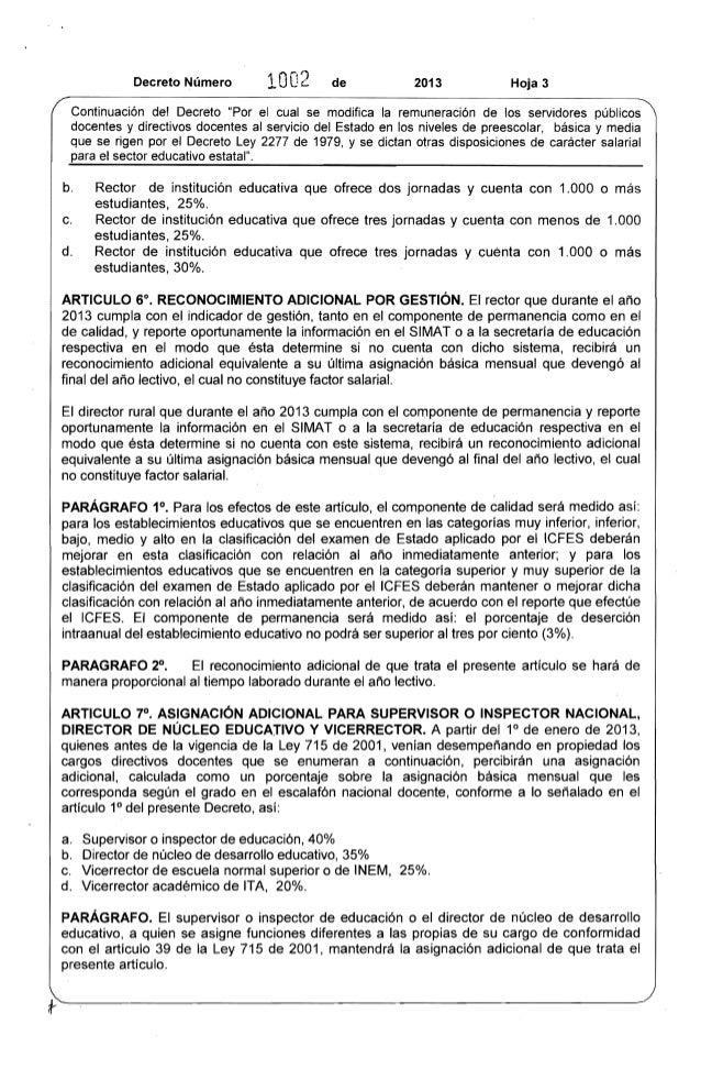 """0-·')  Decreto Número 1 llJ' de 2013 Hoja 3  .... -Continuación  del Decreto """"Por el cual se modifica la remuneración de l..."""