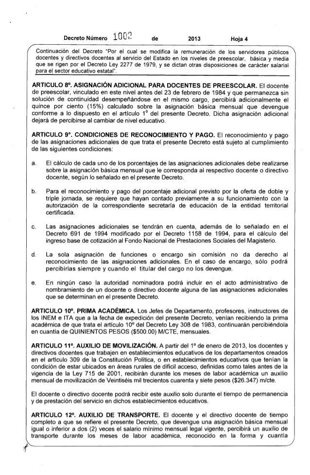 """Decreto Número 10O2 de 2013 Hoja 4  Continuación del Decreto """"Por el cual se modifica la remuneración de los servidores pú..."""