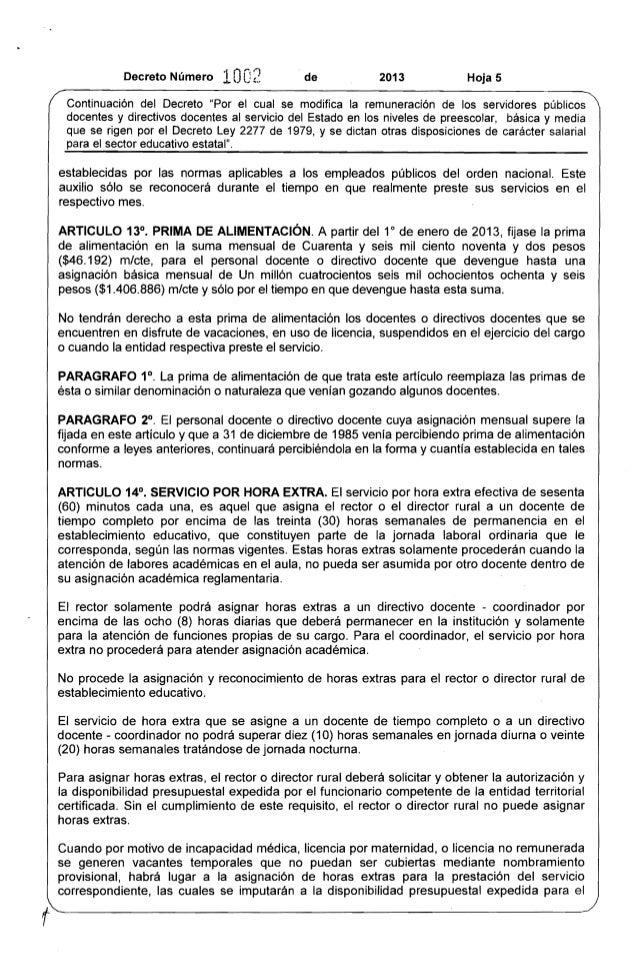 """Decreto Número 10O2 de 2013 Hoja 5  Continuación del Decreto """"Por el cual se modifica la remuneración de los servidores pú..."""