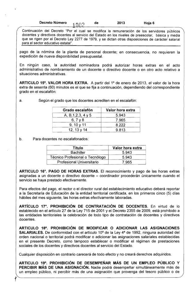 """Decreto Número de 2013 Hoja 6  Continuación del Decreto """"Por el cual se modifica la remuneración de los servidores público..."""