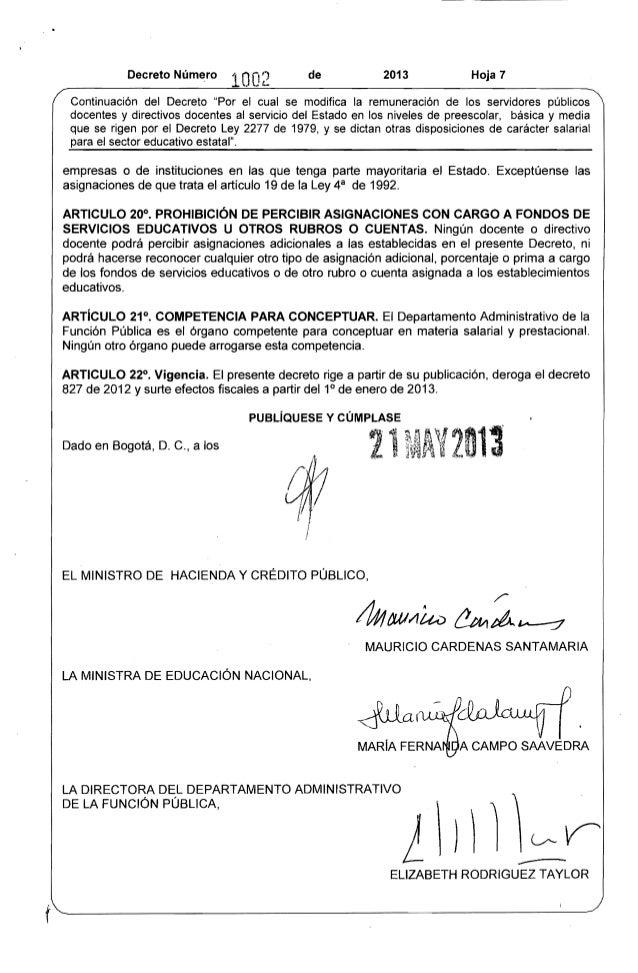 """Decreto Número 10O2 de 2013 Hoja 7  Continuación del Decreto """"Por el cual se modifica la remuneración de los servidores pú..."""