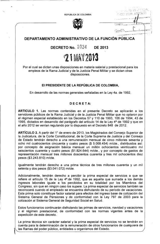 REPUBUCA DE COLOMBIA DEPARTAMENTO ADMINISTRATIVO DE LA FUNCiÓN PÚBLICA DECRETO No. 1034 DE 2013 (21 ·AY2013  Por el cual s...