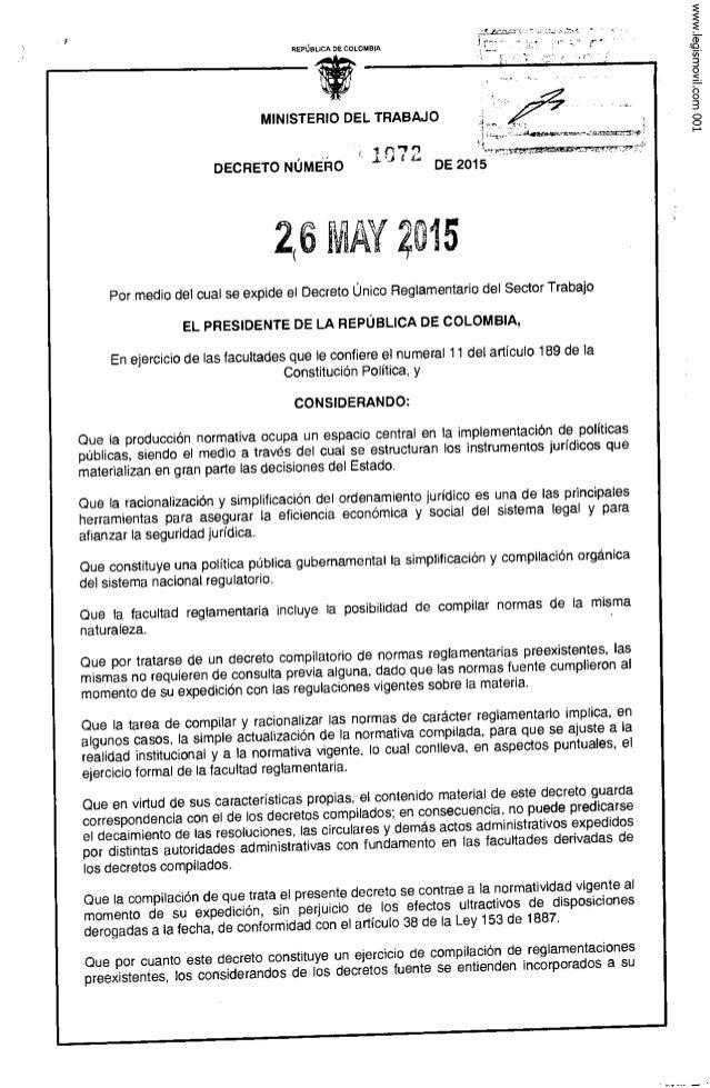"""REPÚBLICA DE coLouaiA » l  MINISTERIO DEL TRABAJO ¿   i. - 'i  1 1""""') 'w.  w .  r.  ¿Cía 7""""Ïq. .+m, tr—»  DECRETO NúMEr-ro..."""