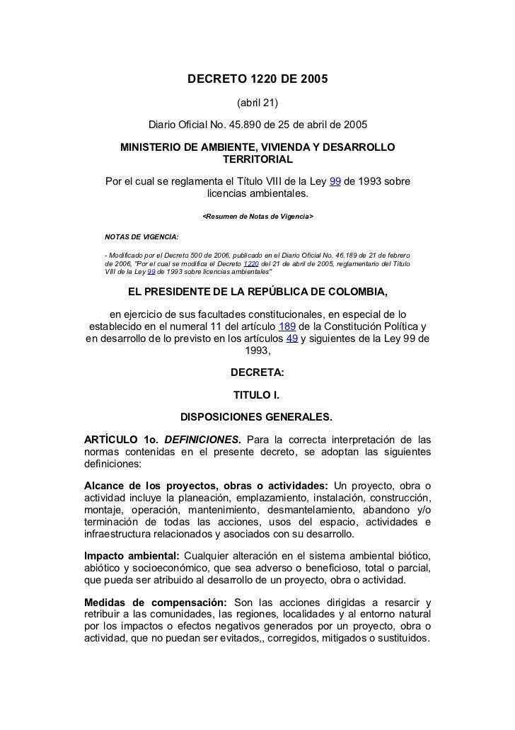 DECRETO 1220 DE 2005                                              (abril 21)                  Diario Oficial No. 45.890 de...