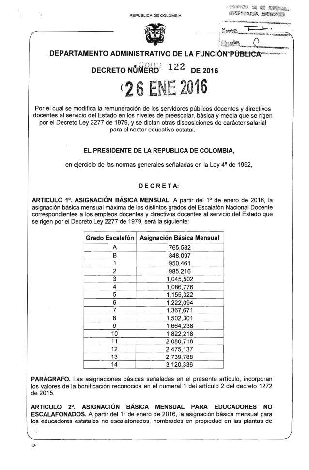Decreto Salarial 2016 Colombia Colombia Decreto Salarial