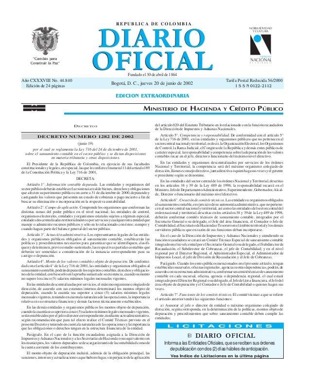 """DIARIO OFICIAL REPUBLICA DE COLOMBIA  """"Cambio para Construir la Paz""""  NORMATIVIDAD Y CULTURA  IMPRENTA  NACIONAL  D E  C O..."""