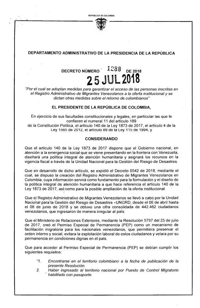 REPUBLICA DE COLOMBIA DEPARTAMENTO ADMINISTRATIVO DE LA PRESIDENCIA DE LA REPÚBLICA DECRETO NÚMERO 1288 DE 2018 25 JUL2018...