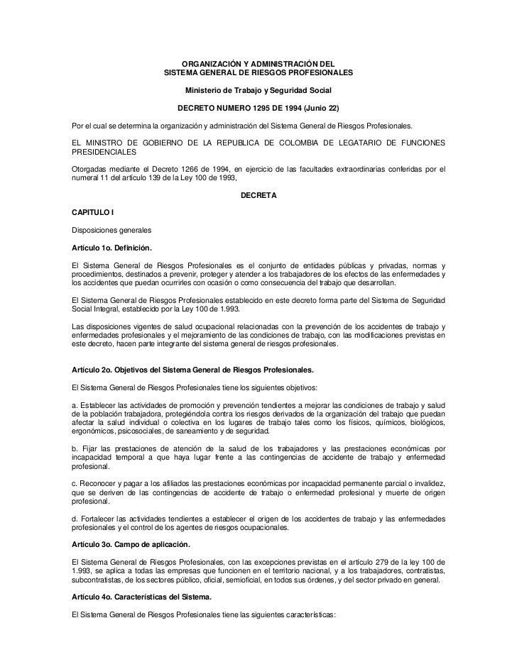 ORGANIZACIÓN Y ADMINISTRACIÓN DEL                             SISTEMA GENERAL DE RIESGOS PROFESIONALES                    ...