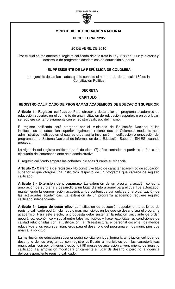 REPÚBLICA DE COLOMBIA                                                 I                         MINISTERIO DE EDUCACIÓN NA...