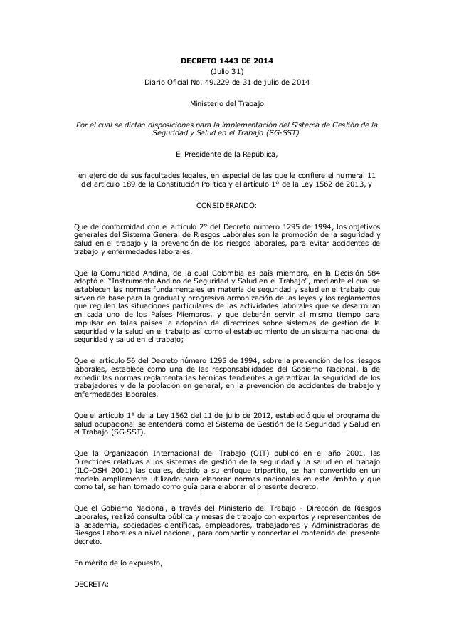 DECRETO 1443 DE 2014 (Julio 31) Diario Oficial No. 49.229 de 31 de julio de 2014 Ministerio del Trabajo Por el cual se dic...