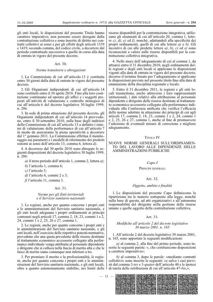 Decreto 150 27ottobre 2009 legge 150 2009 gazzetta ufficiale for Aggiunte di legge