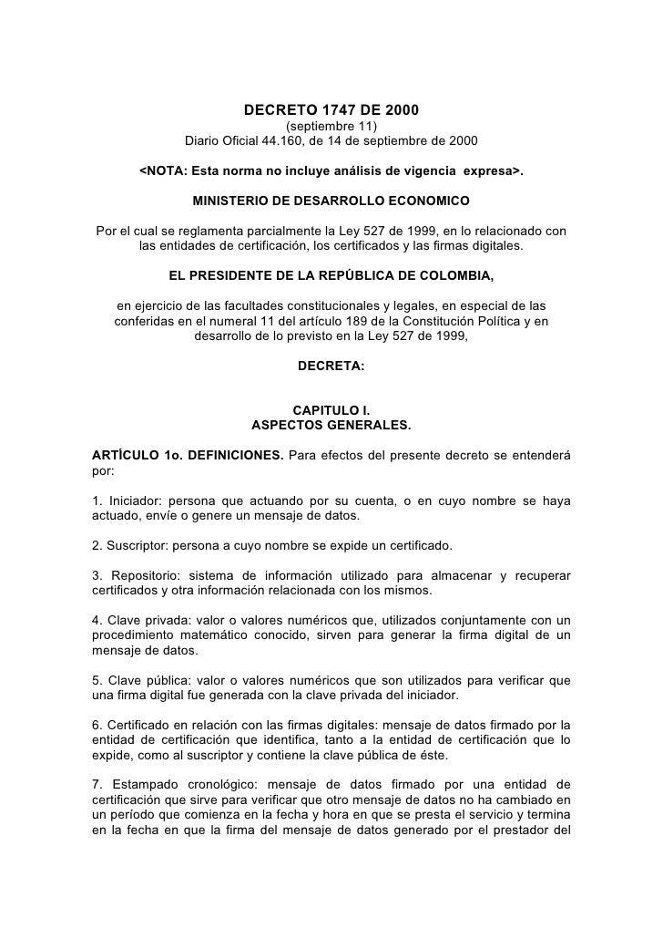 DECRETO 1747 DE 2000                                    (septiembre 11)                 Diario Oficial 44.160, de 14 de se...