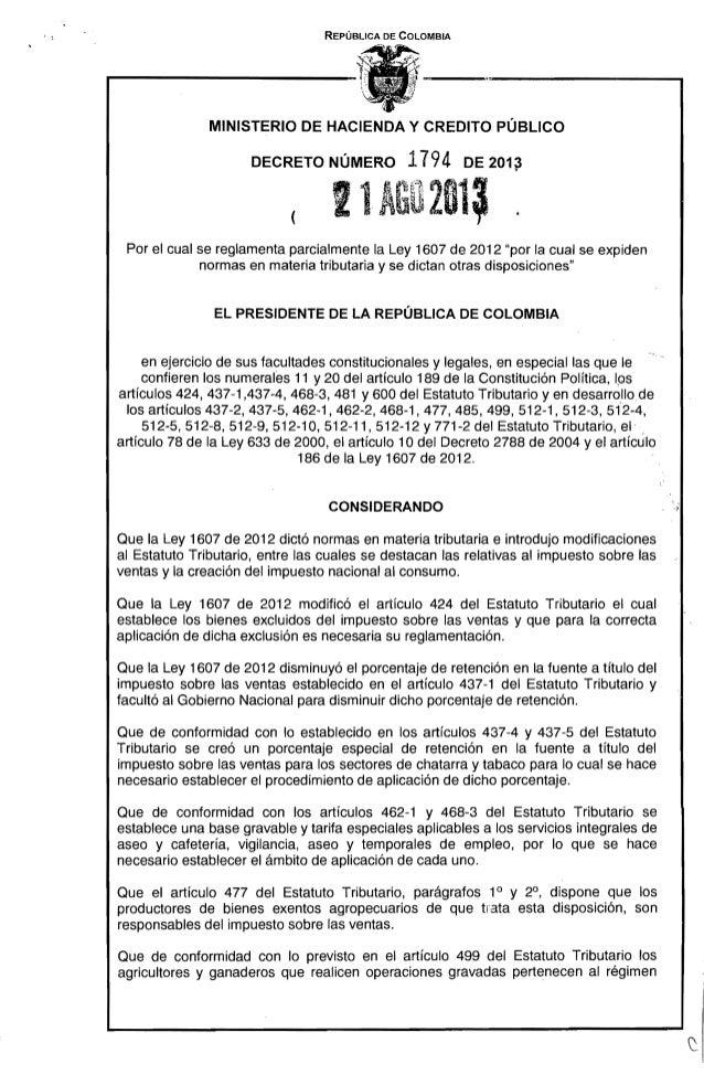 REPÚBLICA DE COLOMBIA MINISTERIO DE HACIENDA Y CREDITO PÚBLICO DECRETO NÚMERO 1794 DE 2013 ! lAG0211, . ( Por el cual se r...