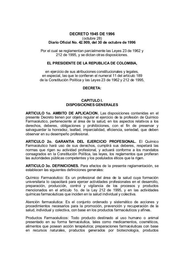 DECRETO 1945 DE 1996                                   (octubre 28)              Diario Oficial No. 42.909, del 30 de octu...