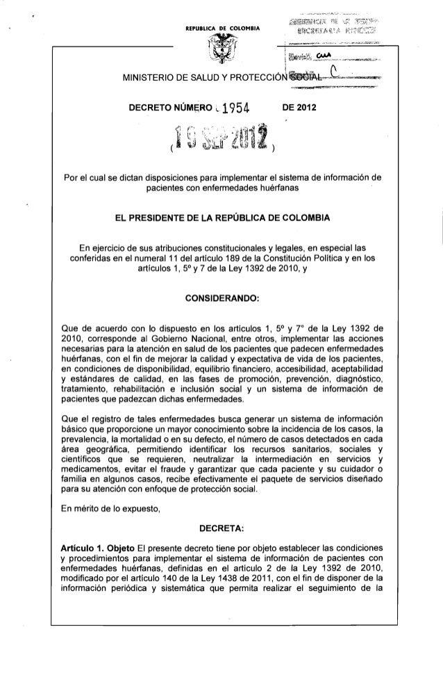 ..  DECRETO NÚM~RO ~·1 954 DE 2012   Por el cual se dictan disposiciones para implementar el sistema de información de pac...