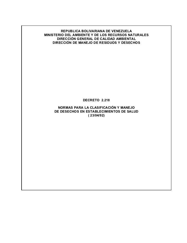 REPUBLICA BOLIVARIANA DE VENEZUELAMINISTERIO DEL AMBIENTE Y DE LOS RECURSOS NATURALES       DIRECCIÓN GENERAL DE CALIDAD A...