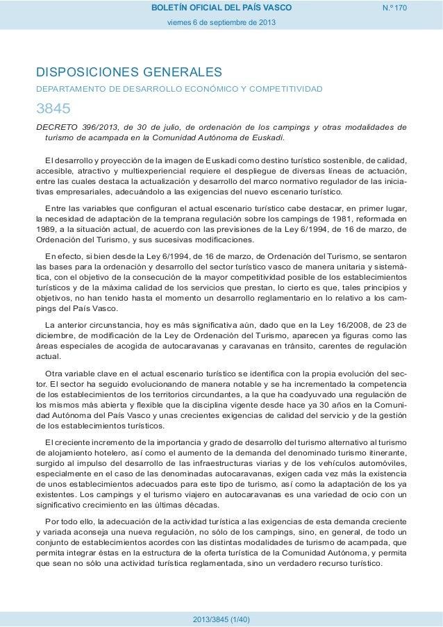 Decreto de Campings 2013 pais vasco