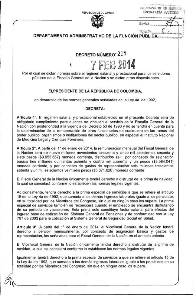 REPUBLlCA DE COLOMBIA  ( Por el cual se dictan normas sobre el régimen salarial y prestacional para los servidores público...