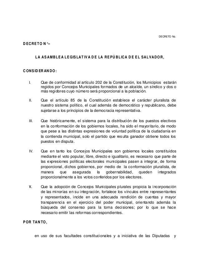 DECRETO No.DECRETO N°--         LA ASAMBLEA LEGISLATIVA DE LA REPÚBLICA DE EL SALVADOR,CONSIDERANDO:  I.        Que de con...