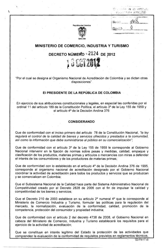 """""""  Repüb!ica de CoIómbí.á MINISTERIO DE COMERCIO, INDUSTRIA Y TURISMO DECRETO NúMeFto ..2124 DE 2012 ! tr·fl'~1111··· · }~..."""