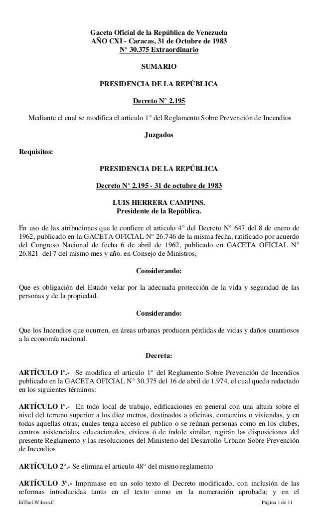 EiTheLWilson.C Página 1 de 11 Gaceta Oficial de la República de Venezuela AÑO CXI - Caracas, 31 de Octubre de 1983 N° 30.3...