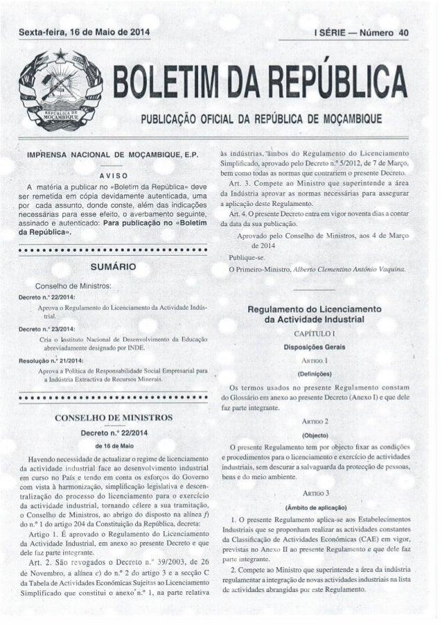 Decreto 22 2014- Regulamento do Licenciamento de actividade industrial