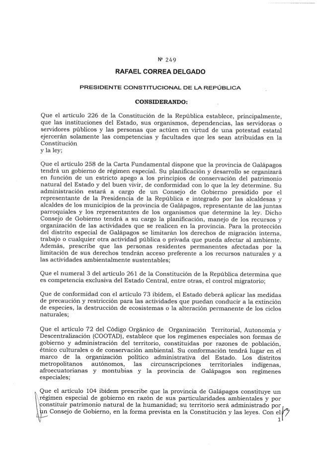 Reforma al Reglamento Especial para la Calificación y Control de la Residencia en la Provincia de Galápagos
