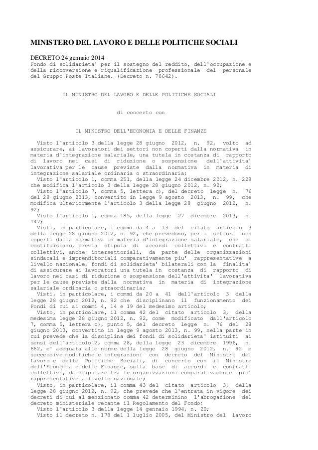 MINISTERO DEL LAVORO E DELLE POLITICHE SOCIALI DECRETO 24 gennaio 2014 Fondo di solidarieta' per il sostegno del reddito, ...