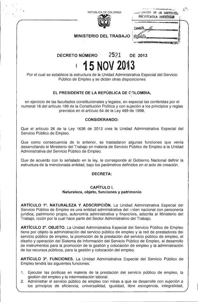 """REPUBLlCA DE COLOMBIA  ...,.  MINISTERIO DEL TRABAJO  DECRETO NÚMERO  2521  ~-  ·~~~~ __ IIlI5I'P'iD·ID'""""""""""""':_,QHI!!!I~"""" _..."""