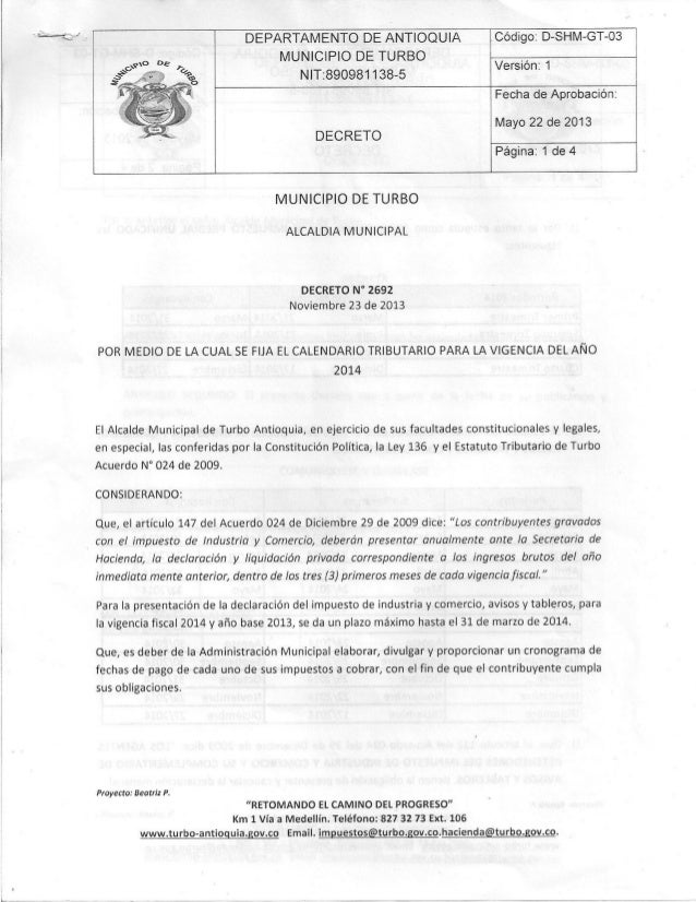 Decreto 2692 calendario tributario 2014