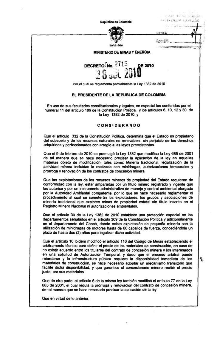 República de Colombia                                MINISTERIO DE MINAS Y ENERGIA                   Por el cual se reglam...
